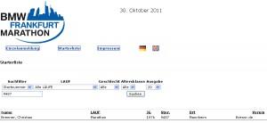Starterliste Frankfurt Marathon