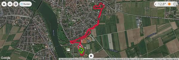 Waldparklauf Ladenburg - Strecke (Quelle: Google Maps)
