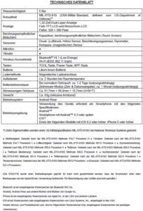 Technisches Datenblatt (Quelle: casio.de)