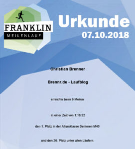 Franklin Meilenlauf 2018 - Urkunde